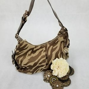 Anne Klein Copper Animal Print Hobo Bag
